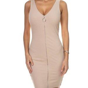 Nude Zip-Front Mini Dress